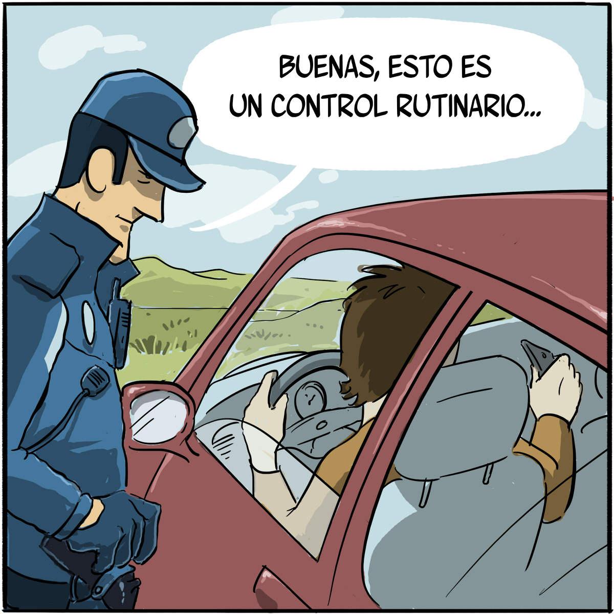 Grabar a policía o guardia civil en control de tráfico.